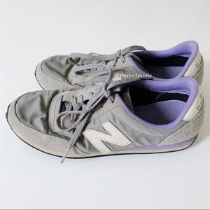 New Balance Gray and Purple Classics Sneakers